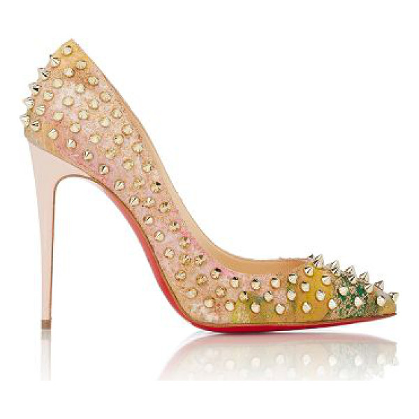 CHRISTIAN LOUBOUTIN Follies spikes pumps-nude - Christian Louboutin beige and multicolored floral-print...