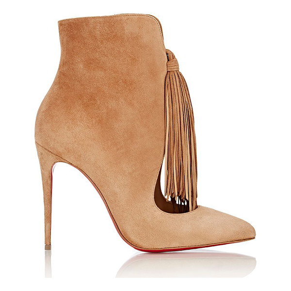 CHRISTIAN LOUBOUTIN Fringed ottocarl ankle boots-nude - Christian Louboutin Noisette (light hazelnut) suede...