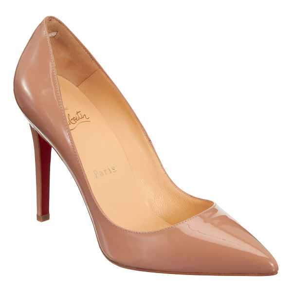 "CHRISTIAN LOUBOUTIN Pigalle pumps-nude - Patent calfskin leather pointed toe pump. 4"" heel (100mm)...."