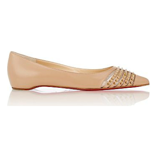 CHRISTIAN LOUBOUTIN Spiked bareta flats-nude - Crafted of beige smooth kidskin, Christian Louboutin's...