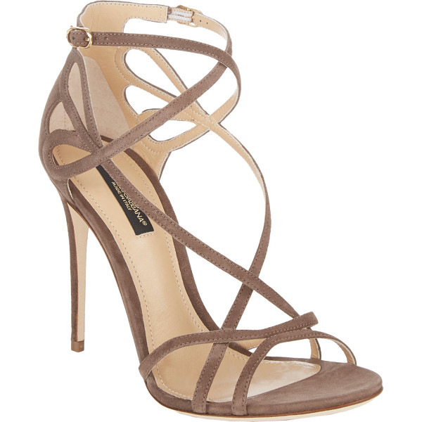 DOLCE & GABBANA Cutout crisscross-straps keira sandals-brown - Dolce & Gabbana's taupe suede Keira sandals are styled at...