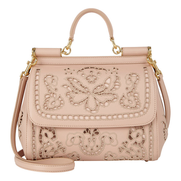DOLCE & GABBANA Cutwork-embroidered miss sicily bag-nude - Dolce & Gabbana blush smooth nappa leather Miss Sicily bag...