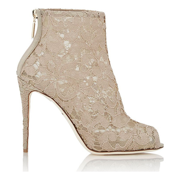 DOLCE & GABBANA Lace ankle boots-nude - Crafted of Sand (beige) lace layered over mesh, Dolce &...