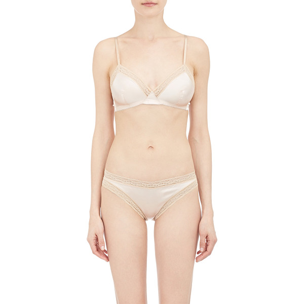 ERES Marquis soft bra-pink - Eres pink satin Marquis soft bra trimmed with peach lace....