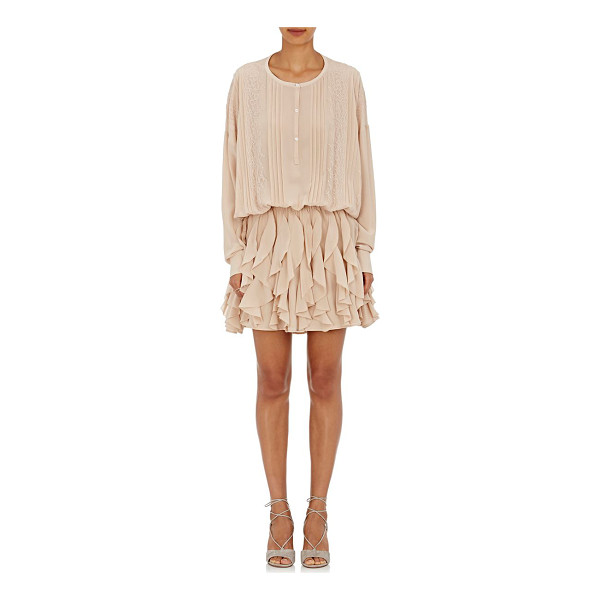 FAITH CONNEXION Silk ruffled long-sleeve dress-nude -