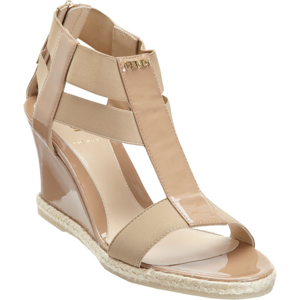 FENDI T-strap wedge sandal - Crafted of khaki patent leather, Fendi's Carioca T-strap...