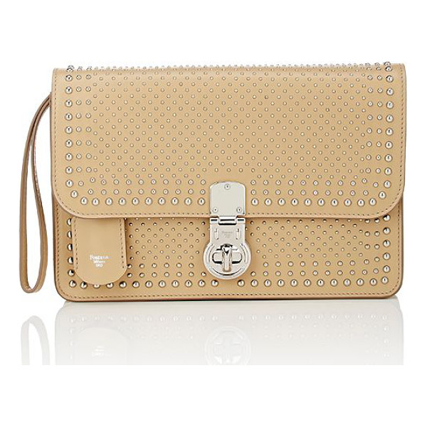 FONTANA MILANO 1915 studded clutch-nude - Crafted of sand smooth leather, Fontana Milano 1915's...