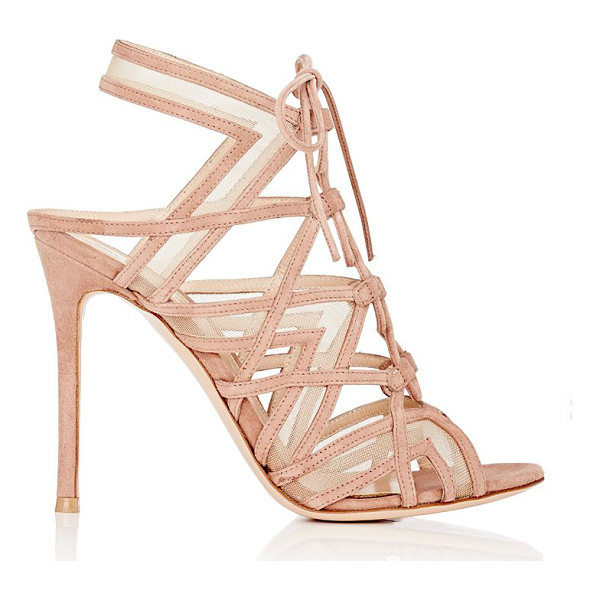 GIANVITO ROSSI Caged lace-up sandals-pink - Crafted of Praline (natural) suede, Gianvito Rossi's...