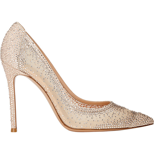 GIANVITO ROSSI Crystal-embellished pumps-beige - Crafted of beige blush mesh and suede, Gianvito Rossi's...