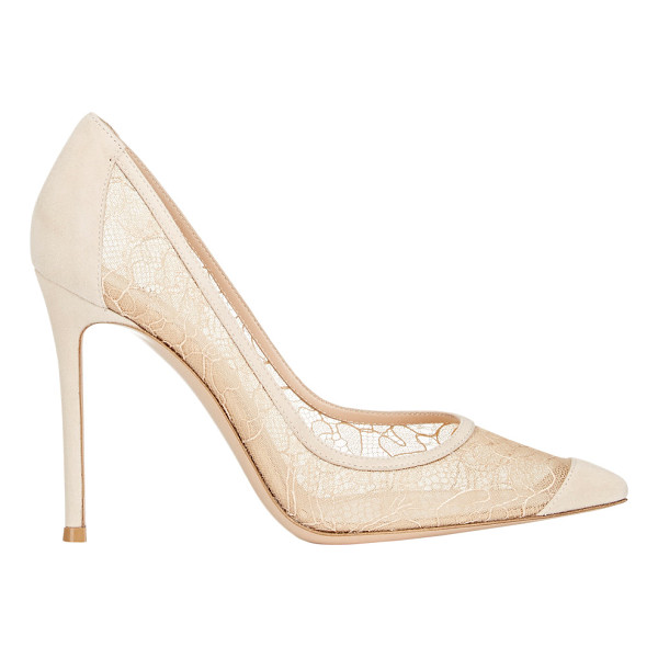 GIANVITO ROSSI Elodie pumps-nude - Gianvito Rossi Sand lace and suede Elodie pumps styled with...