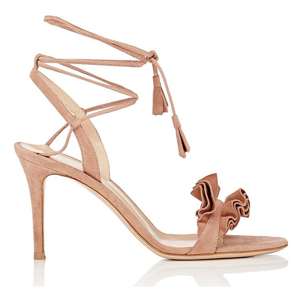 GIANVITO ROSSI Flora suede ankle-tie sandals-pink - Crafted of beige suede, Gianvito Rossi's Flora sandals are...