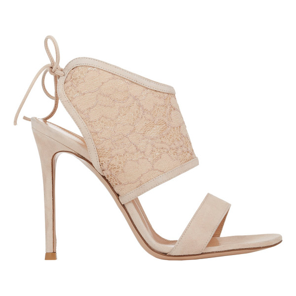 GIANVITO ROSSI Lace-inset sandals-nude - Exclusively Ours! Crafted of soft beige blush suede,...