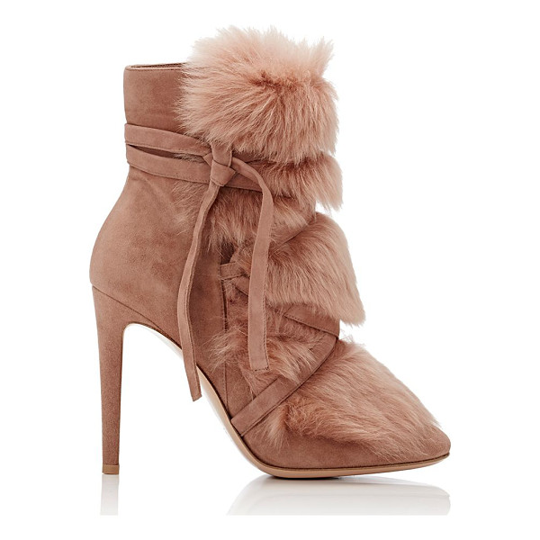GIANVITO ROSSI Moritz suede & fur ankle boots-colorless - Crafted of light red-brown suede and lamb fur, Gianvito...