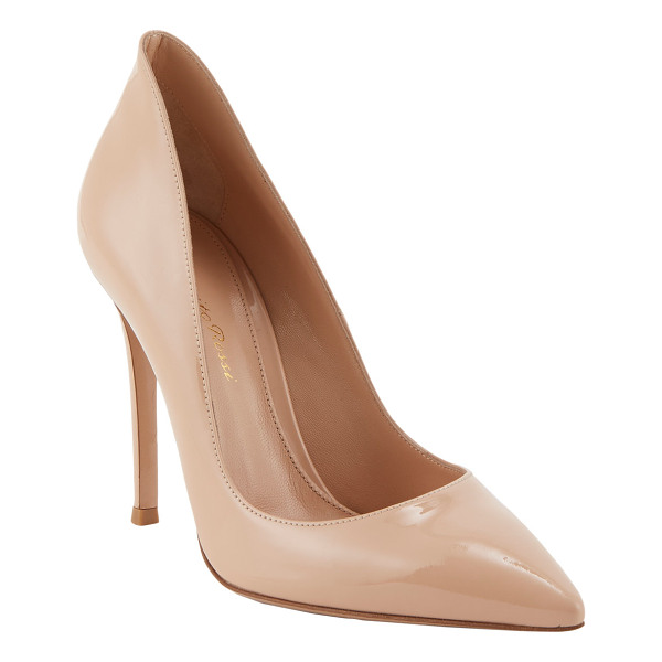 GIANVITO ROSSI Patent leather ellipsis pumps-nude - Gianvito Rossi nude patent leather Ellipsis pumps styled...