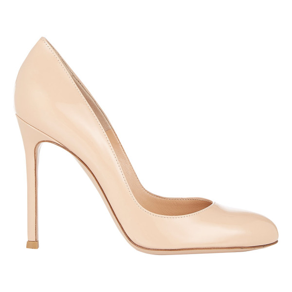 "GIANVITO ROSSI Patent round-toe pumps-nude - Gianvito Rossi nude patent leather round-toe pumps. 4""..."