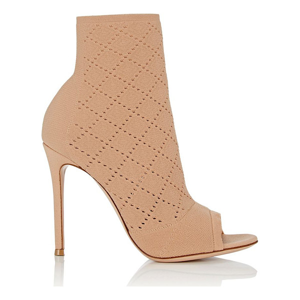 GIANVITO ROSSI Perforated knit ankle booties-colorless - Exclusively Ours! Gianvito Rossi beige diamond-perforated...