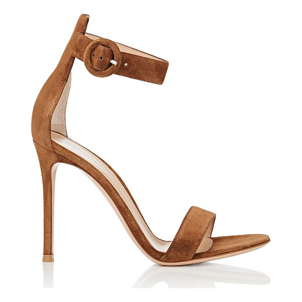 GIANVITO ROSSI Portofino suede ankle-strap sandals-brown - Gianvito Rossi's Portofino ankle-strap sandals are crafted...