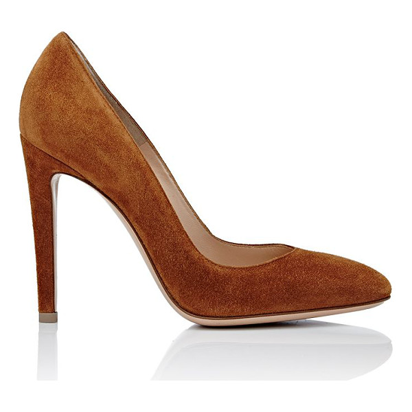GIANVITO ROSSI Rounded-toe pumps-colorless - Gianvito Rossi Camel Luggage (brown) suede rounded-toe...