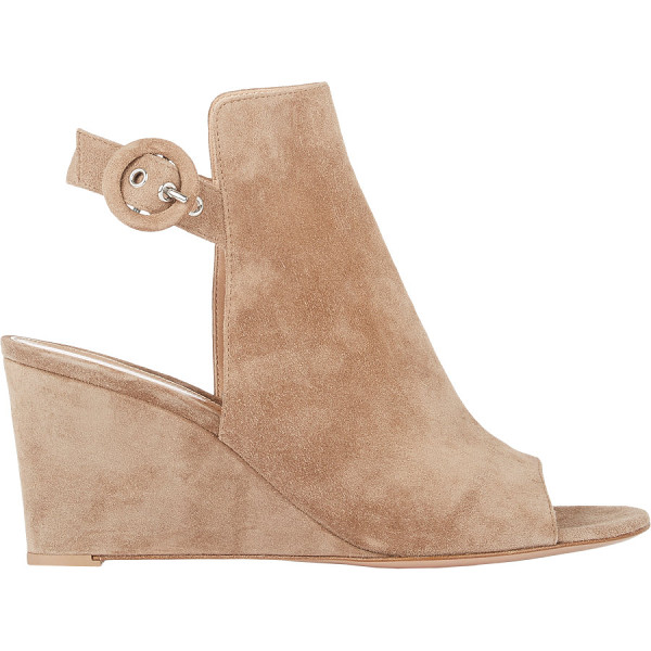 GIANVITO ROSSI Suede ankle-strap wedge sandals-nude - Crafted of Bisque (taupe) suede, Gianvito Rossi's...