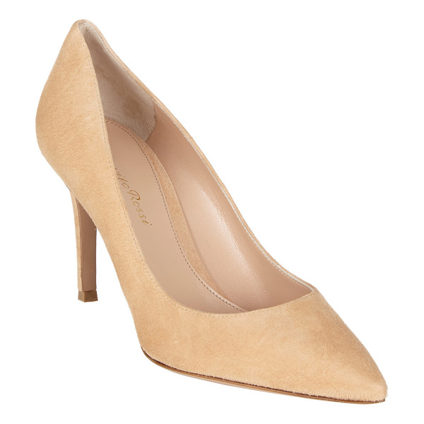 "GIANVITO ROSSI Pointed toe pump-nude - Gianvito Rossi beige suede point-toe pumps. 3.25"" (85mm)..."