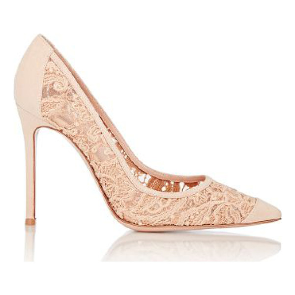 GIANVITO ROSSI Elodie pumps-colorless - Crafted of beige macrame lace layered over beige mesh,...