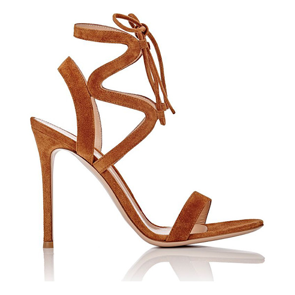 GIANVITO ROSSI Zigzag ankle-strap sandals-brown - Gianvito Rossi Luggage (tan) suede lace-up sandals styled...