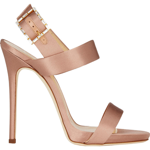 GIUSEPPE ZANOTTI Jeweled buckle double-band sandals-colorless - Exclusively Ours! Giuseppe Zanotti rose satin slingback...
