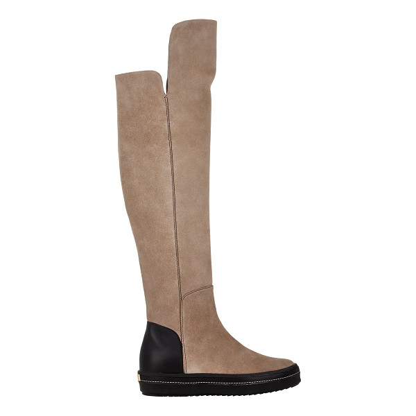 GIUSEPPE ZANOTTI Suede over-the-knee sneaker boots-nude - Giuseppe Zanotti taupe suede and black smooth leather...