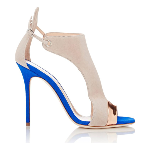 GIUSEPPE ZANOTTI Specchio-trimmed cutout sandals-colorless siz - Crafted of beige and cobalt suede, Giuseppe Zanotti's...