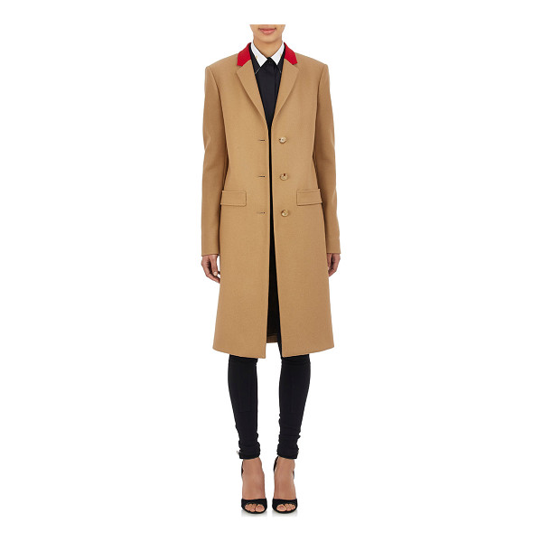 GIVENCHY Contrast-collar melton coat-colorless - Givenchy camel wool-blend melton single-breasted coat...