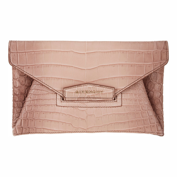 GIVENCHY Crocodile small antigona envelope clutch-pink - Crafted of Old Pink crocodile, Givenchy's small Antigona...