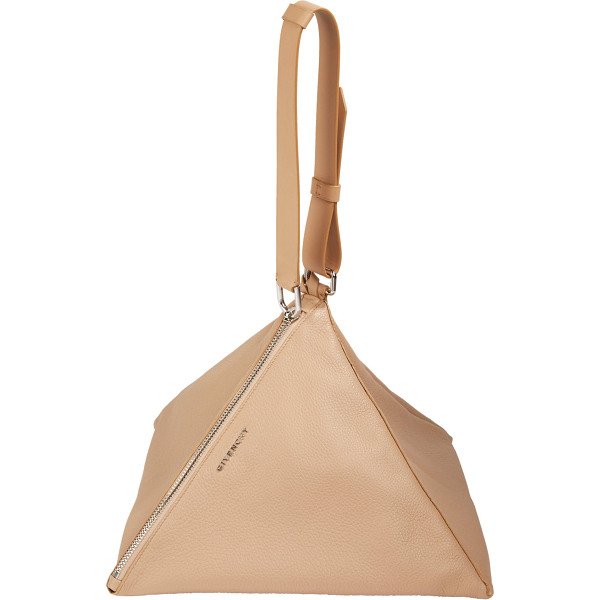 GIVENCHY Large pyramid pouch-nude - Givenchy camel grained-leather large Pyramid pouch. Metal...