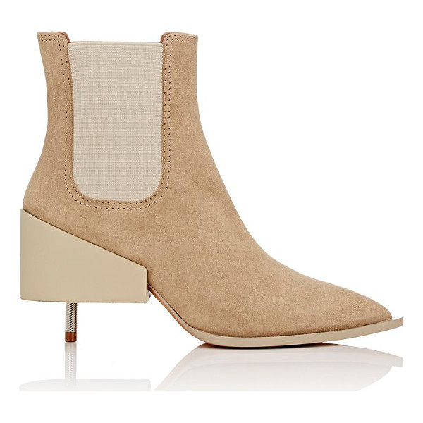 GIVENCHY Givenchy screw-heel chelsea boots-beige - Givenchy beige suede pointed-toe Chelsea boots styled with...