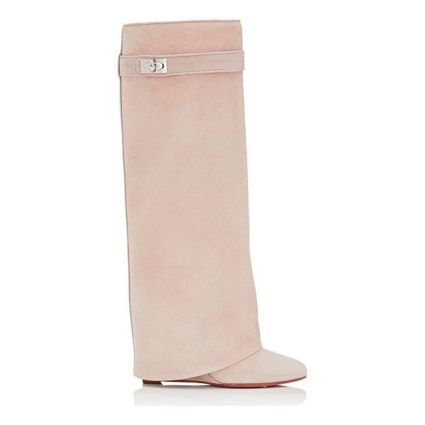 GIVENCHY Shark line suede knee boots-beige, tan - Givenchy's Shark Line knee boots are crafted of beige...