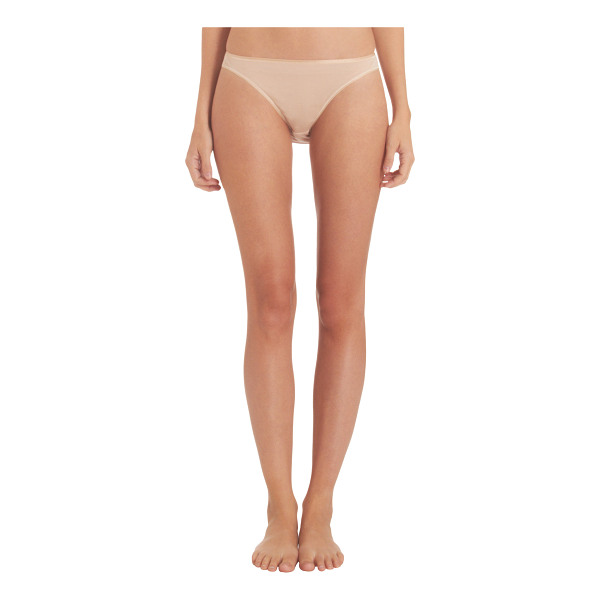 HANRO Satin trim briefs-beige, nude - Hanro beige cotton jersey satin-trimmed seamless briefs....