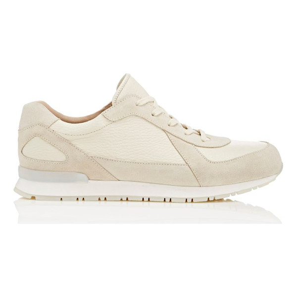 HELMUT LANG Low-top sneakers-cream - Helmut Lang cream grained leather and suede low-top...