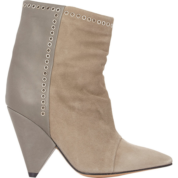 ISABEL MARANT Suede & leather lance ankle boots-nude - Crafted of taupe suede and smooth lambskin, Isabel Marant's...