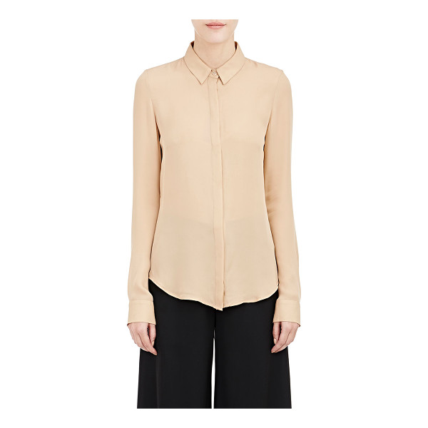 JI OH Chiffon blouse-nude - Ji Oh dusty peach silk chiffon blouse. Point collar,...