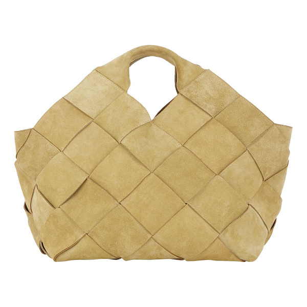 LOEWE Basketweave large tote-gold - Loewe's large tote bag is crafted of basketwoven tan suede....