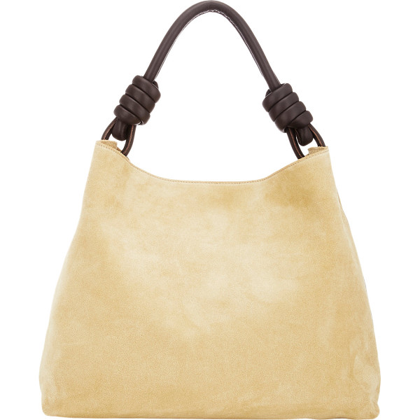LOEWE Flamenco knot large hobo-gold - Crafted of tan suede, Loewe's Flamenco Knot large hobo bag...