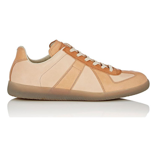 "MAISON MARGIELA ""replica"" low-top sneakers-brown - Exclusively Ours! Maison Margiela beige and tan smooth..."