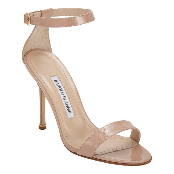 MANOLO BLAHNIK Chaos ankle-strap sandals-beige, nude - Manolo Blahnik beige patent leather Chaos open-toe sandals...