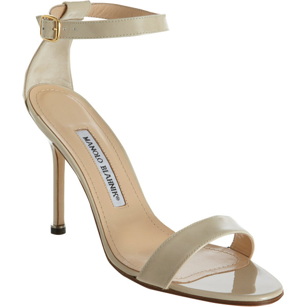 MANOLO BLAHNIK Chaos ankle-strap sandals-nude - Manolo Blahnik Bone patent leather Chaos ankle-strap...