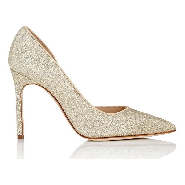MANOLO BLAHNIK Collina half dorsay pumps-gold - Exclusively Ours! Manolo Blahnik gold glitter-covered...