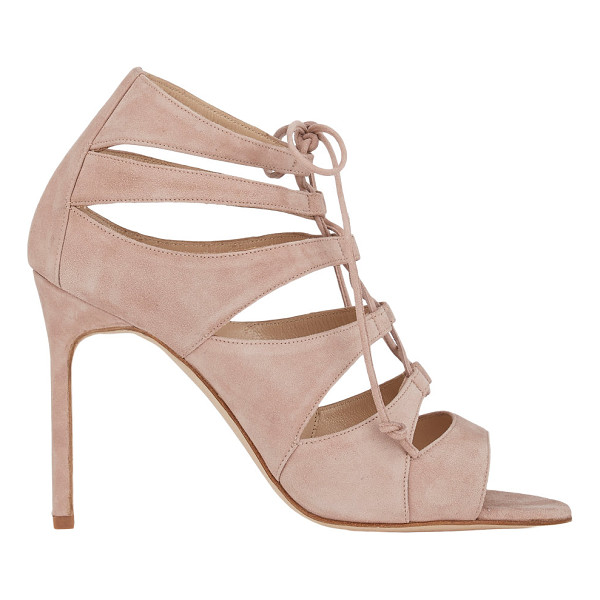 MANOLO BLAHNIK Maisa lace-up sandals-nude - Manolo Blahnik beige suede caged Maisa sandals styled with...