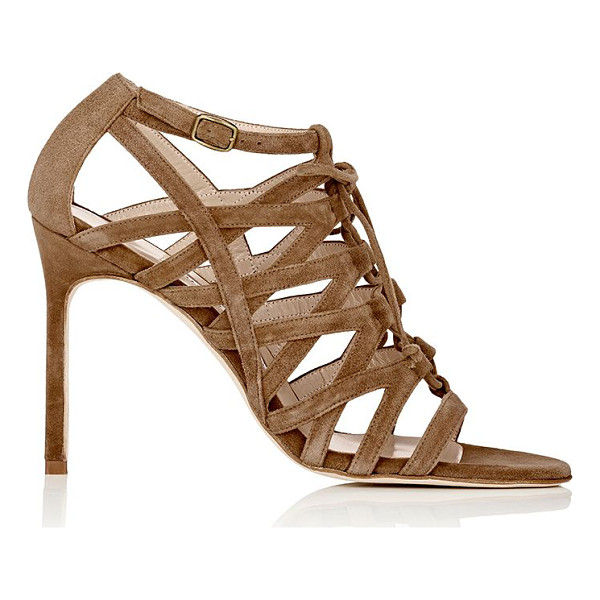 MANOLO BLAHNIK Vostra caged sandals-beige - Manolo Blahnik's Vostra caged sandals are handcrafted of...