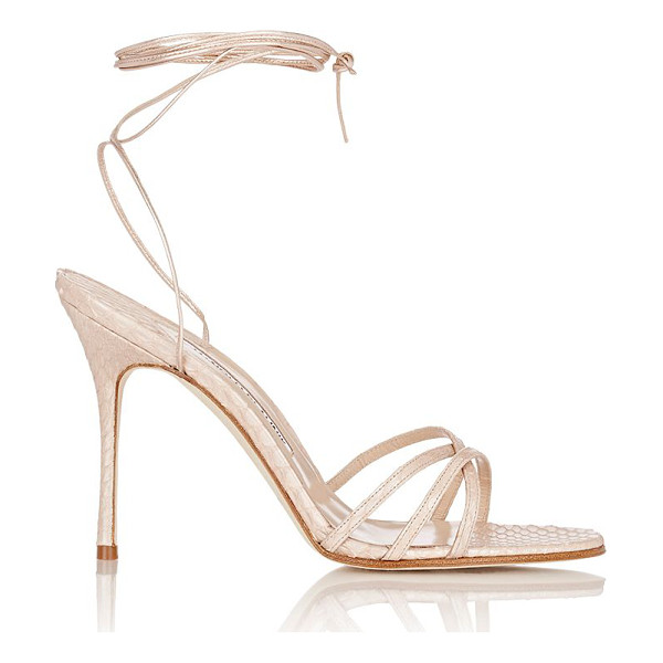MANOLO BLAHNIK Snakeskin leva ankle-wrap sandals-colorless siz - Crafted of Champagne metallic snakeskin, Manolo Blahnik's...