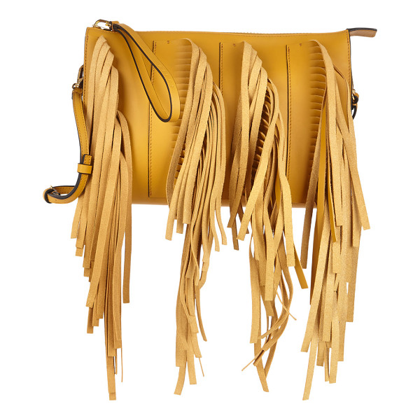 MARNI Fringed biker clutch-gold - Crafted at front and back of gold smooth calfskin and at...