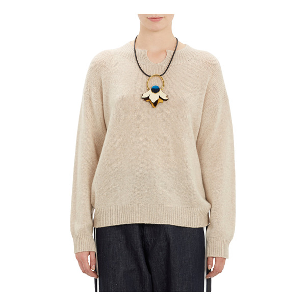MARNI Notch-neck pullover sweater - Marni's tan cashmere pullover sweater is detailed with a...