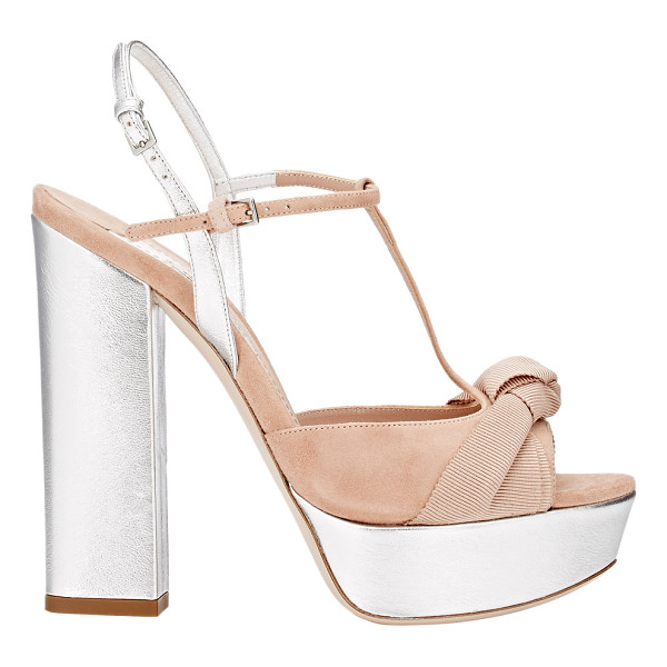 MIU MIU Knotted bow t-strap platform sandals-nude - Crafted of light mocha suede and metallic silver grained...